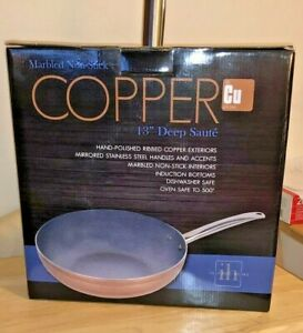 """New Inspired Home Marbled Non-Stick Copper 13"""" Deep Saute/pan"""