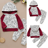 ❤️ Toddler Baby Boy Girl Outfits Clothes Hoodie T-shirt Tops + Pants Outfits Set
