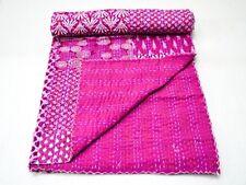 Indian Handmade Quilt Pink Kantha Bedspread Throw Cotton Blanket Ethnic Queen