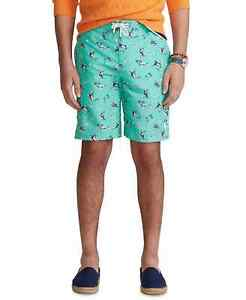 "Polo Ralph Lauren Men's 8 1/2"" Inseam Kailua Swim Trunks Seafoam Marlin Bass Med"