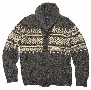 NWT AMERICAN EAGLE Men's Snowflake Cardigan Sweater MEDIUM Gray Button #431303