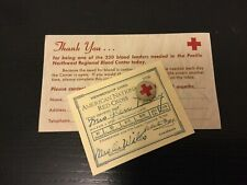 Vintage WW1 - WW2 American Red Cross Button + 1926 Membership + Donation Card