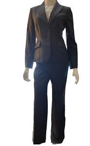 Ann Taylor Pant Suit Charcoal Grey Pinstripe Blazer & Pant Sz 2P