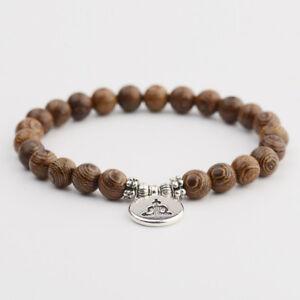 Natural Wood Stone OM Lotus Buddha Yoga Bracelets Chakra Mala Bead Luck Bracelet