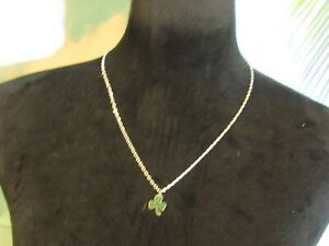 """Silver Tone Chain Necklace with a Green Three Leaf Clover 20"""""""