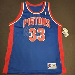 Vintage NWT Champion Detroit Pistons NBA Grant Hill Authentic Stitched Jersey 48