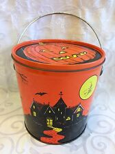 Vintage Halloween Orange Tin with Haunted House Skeleton Ghosts and More