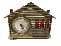 Vtg Remembrance 80 Days Alarm Clock / Music Box.  Brass Log cabin Tested Working