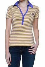 Gestreifte hüftlange Kurzarm-Damen-Poloshirts