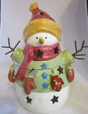 "Kohls Ceramic Snowman 9"" Candle Votive TeaLight Holder Winter Decor Stars Mitten"