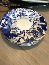 4 Antique Royal Crown Derby Mikado Blue & White Orientalists Plates