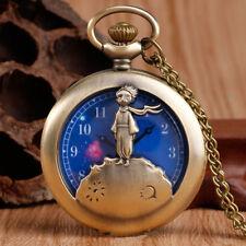 The Little Prince Planet Blue Cartoon Kids Children Copper Pocket Watch Necklace