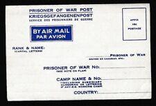 Canada WW2 Prisoner of War Air Mail envelope Mint unused
