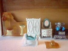 Lot of 7 pieces Mattel The Littles miniature die cast metal dollhouse furniture