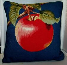 "Needlepoint Pillow Red Apple Imperial Elegance Accent 13.5"" Square"