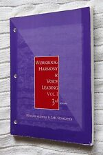 Harmony and Voice Leading: Workbook-Vol.1, 3rd edition, Like new, free shipping