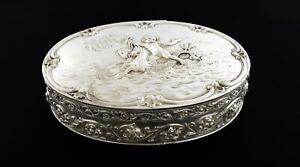 Antique Hanau Germany 800 Silver Gold Wash Repousse Cherub Capricorn Trinket Box