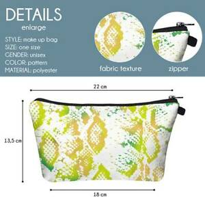 Cosmetic Bag 3D Digital Printing Snakeskin Pattern Toiletry Bag Waterproof R