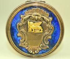 "VTG 800 SILVER ENAMEL & 18K GOLD WINGED LION 2.25"" HINGED TRINKET PILL BOX ITALY"