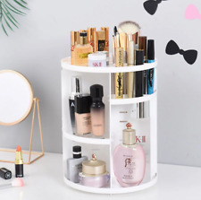 360 Degree Rotating Makeup Organizer Cosmetic Rack Holder Storage Box Case WHITE
