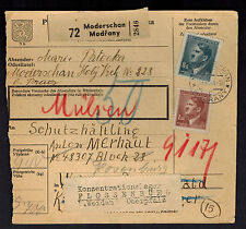 1944 Germany Buchenwald Concentration Camp Parcel Cover Forwarded to Flossenburg