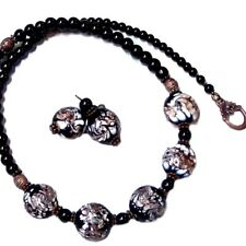 Necklace and earrings set, Black and white lampwork, artisan, clip on or pierced