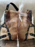 Diane Gail Fur Shoulder Bag Purse Leather Handbag