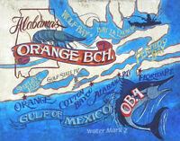 Orange Beach  Alabama retro Beach  Print decor  vintage looking  art map destin