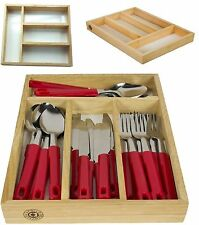 4 Compartments Wooden Cutlery Storage Tray Drawer Organiser Holder Kitchen Rack