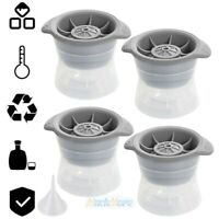 """4-Pack 2.5"""" Large Round Ice Cube Ball Maker Molds Whiskey Cocktail Ice Ball Tray"""