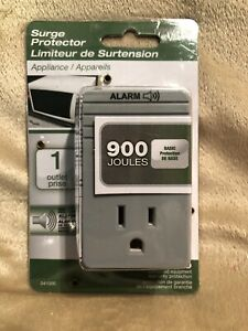 Woods 041000 1-Outlet Appliance Surge Protector w/ Alarm 900-Joules NEW