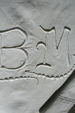 long drap ancien en toile métis N° 488,monogramme BM  340 x 218cm