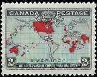 Canada #86 mint VF+ OG NH 1898 Map/Xmas 2c black,blue & carmine CV$180.00