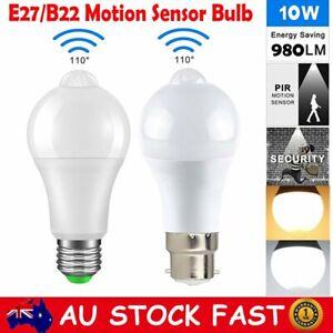 B22 E27 10W LED Motion Sensor Auto Bulb PIR Infrared Energy Saving Globe Light