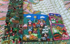 4 Pc Lot of Hand Made Quilted Tapestry Peru Folk Art Artist Written Story 1989
