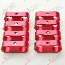 8PCS AN4 4AN Billet Fuel Hose Red Hose Separator Fittings Adapter