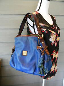 Dooney & Bourke TOLEDO FLORENTINE BLUE SHOULDER BAG HOBO HANDBAG TASSEL