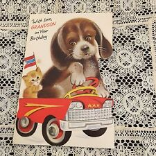 Vintage Greeting Card Birthday Norcross Dog Driving Car Cat