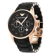 Emporio Armani Mens Watch Chronograph Rose Gold AR5905 Black Stainles New In Box