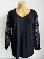 eedb4b61c5043b T-shirt, maglie e camicie da donna neri floreale lunghezza lunghezza ai  fianchi