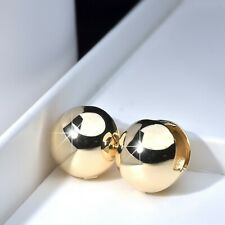 18k yellow gold drop dangle huggies round ball bead stud simple classic earrings