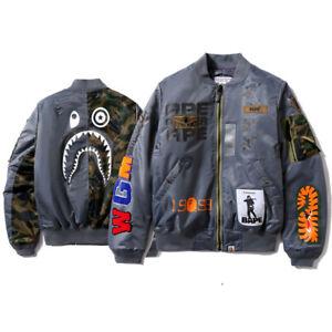 Men/'s Bape Black Coat Tops A Bathing Ape Monkey Head Outwear Flight Jacket