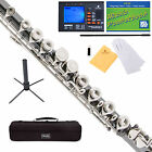 Mendini C Flute Black Nickel Plated w/ Nickel Key, Closed Hole +Tuner+Stand+Case