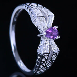 10K WHITE GOLD 3.5x4.5MM PEAR CUT NATURAL AMETHYST & DIAMOND ENGAGEMENT RING