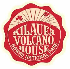 Kilauea Volcano House Hawaii Vintage Looking Travel Decal  Luggage Label Sticker