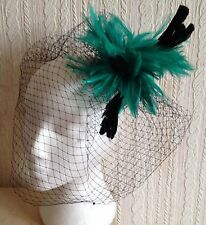 green feather fascinator black french veiling veil hair clip brooch headpiece