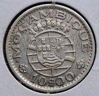 1954 Mozambique Portuguese Colony Coin 10 $00 Escudos MOÇAMBIQUE Silver KM# 79