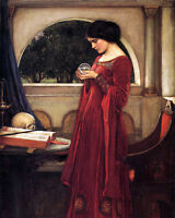 Waterhouse Lady With Crystal Ball Fortune Painting 8x10 Real Canvas Art Print