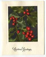 VINTAGE CHRISTMAS RED MISTLETOE BOTANICAL NATURE LITHOGRAPH PRINT GREETING CARD