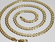 Solid 9ct Yellow Gold on Silver CURB Chain - 5MM - 16 18 20 22 24 26 30 inch